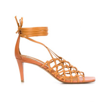 women 2020 strappy design woven ankle-wrapped mid-high  heel sandals