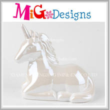 White Pearls Gorgeous Unicorn Ceramic Money Bank