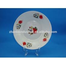 nice flower decal ceramic porcelain soup plate