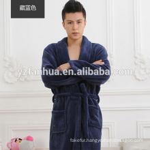 Warm Navy Flannel Fleece Men's Bathrobe for promotion