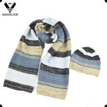 2016 Latest Multicolor Stripe Knitted Scarf Beanie Set