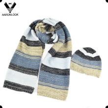 2016 Última Multicolor rayas tejidas bufanda Beanie conjunto
