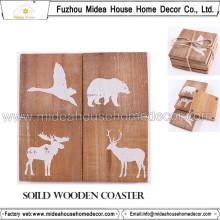 Vente en gros de vaisselle de tableaux Produits durables 12 * 12cm Wooden Coasters