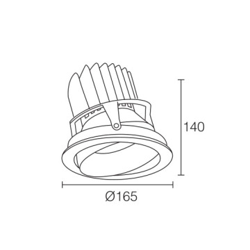 Downlight LED paysage gris 38W
