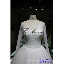 2016 vestido de casamento vestido de casamento vestido de noiva vestido de noiva Modest V-neck vestido de noiva de manga longa 2016