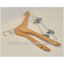 Kundenspezifische klassische Holz Kleiderbügel mit Clips