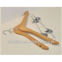 Customized Classic Wood Clothes Hanger with Clips