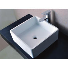 Sanitary Ware Square Counter Top lavatório de pedra branca (BS-8316)