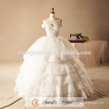 Custom Made Off Shoulder Bridal Gown Puffy Ball Gown Lace Boning Plus Size Formal Wedding Dress