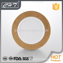 "A068 Fine bone china 12"" show plate with gold design"