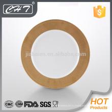 """A068 Тонкая костяная фарфоровая тарелка 12 """"с золотым дизайном"""