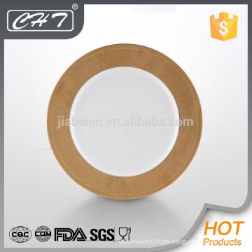 "A068 Fine Bone China 12 ""Show-Platte mit Gold-Design"
