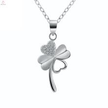 Colar 925 Sterling Silver Pingente De Flor De Quatro Folhas De Trevo