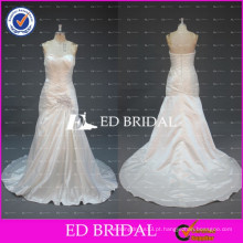 ED Bridal Real Picture Elegant Sweetheart Ruched Taffeta Pleating Beads Vestidos de casamento brancos