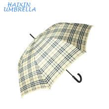 Manufacturer Sport Promotion Golf No Metal Long Shaft Walking Stick OEM Plaid Check Design Men's Rain Umbrella Windproof Travel