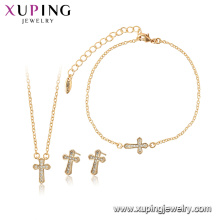 65012 xuping 18k gold plated fashion cross 3-piece jewelry sets for women