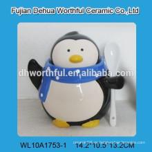Estatuilla de pingüino promocional condimento de cerámica con cuchara