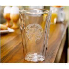 Taza de café de cristal de la pared doble Regalos de la promoción de la taza de té