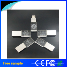 Custom Logo Printing Crystal Metal/Wood USB Flash Drive with LED Light