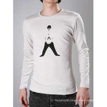 Top Quality Black Design Printing White Cotton Fashion Men T-Shirt