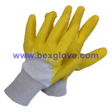 Cotton Interlock Liner, Latex Coating, Ripple Styled Crinkle Finish Glove