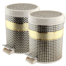 Plastic Top Rim Leather Covered Foot Pedal Dust Bin