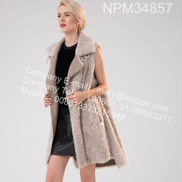 Bahasa Iceland Lamb Fur Gilet Women In Winter