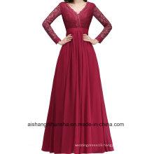 Sexy Back Applique Evening Gown Elegant Long-Sleeved Formal Dress