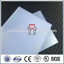Feuille de polycarbonate dépoli diffusée opale de 2 mm