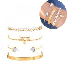 Gold Adjustable Olive Leaf Bracelets for Women Girls Wheat Spike Multiple Stackable Wrap Bangle Brangle Beach Foot Anklet -