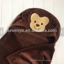 Serviette bébé avec capuche visage animal singe personnalisé grande taille