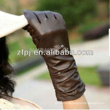 Frauen Winter lange braune Lederhandschuhe für den Winter