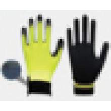 13 gauge poliéster com nitrilo arenoso na palma, pulso de velcro