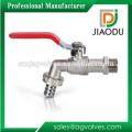 Forged Nickel Plated Red Lever Handle Brass Water Ball Hose Bibcock