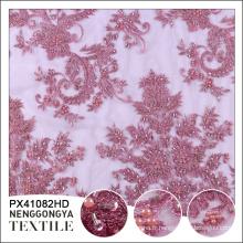 Tissu brodé de dentelle française de polyester chimique de haute qualité