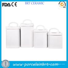 Classic Square Ceramic Food Storage with Handle Lid
