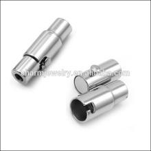 BXG004 Shiny 2/3/4/5/6/7/8 / 10mm Cylindre en acier inoxydable en argent Fermoir magnétique pour cordon en cuir Bijoux DIY Trouver