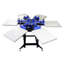 TM-R6 6-Color Manual rotatorio camiseta Textil Serigrafía