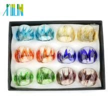 Fashion Gold Sand Mix Size Lampwork Rings 12pcs/box, MC1009