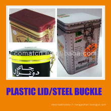 Couvercle hermétique en plastique et joint avec boucle acier de fer-blanc peut utilisation