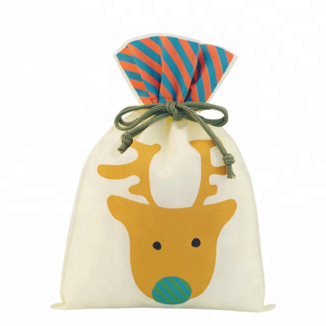 X-mas Christmas Deer Pattern Packaging Bag Tipo de cordón