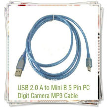 USB 2.0 Standard usb zu mini 5pin Datenkabel usb Datenkabel für Telefone Transparent blau