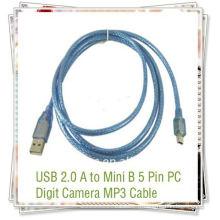 USB 2.0 Standard usb à mini câble de données 5pin câble USB pour téléphones bleu transparent