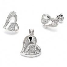 Herz Ohrringe und Anhänger Schmuck Set 925 Sterling Silber Micro Set