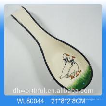Utensilios de cocina titular de cuchara de cerámica con calcomanía animal