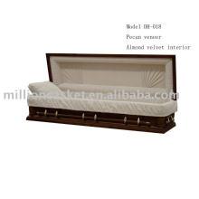 funérailles de cercueil en bois de placage pécan vend en gros des produits