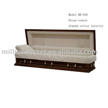 DH-018 pecan veneer full couch casket carton and foam