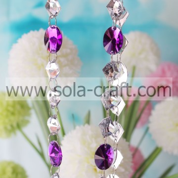 13*18MM Crystal Oval Mirror Crystal Clear And Purple Bead Acrylic Garland Chandelier Hanging Wedding Supplies