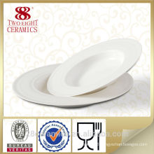 White hotel porcelain soup plate, ceramic food plate