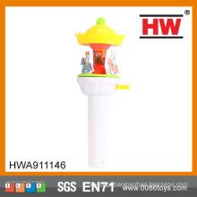 Engraçado brinquedo plástico whirligig criança com luz e música merry-go-round brinquedo